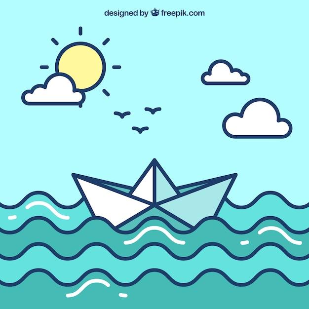 Mignon fond de bateau en papier dans un design plat Vecteur gratuit