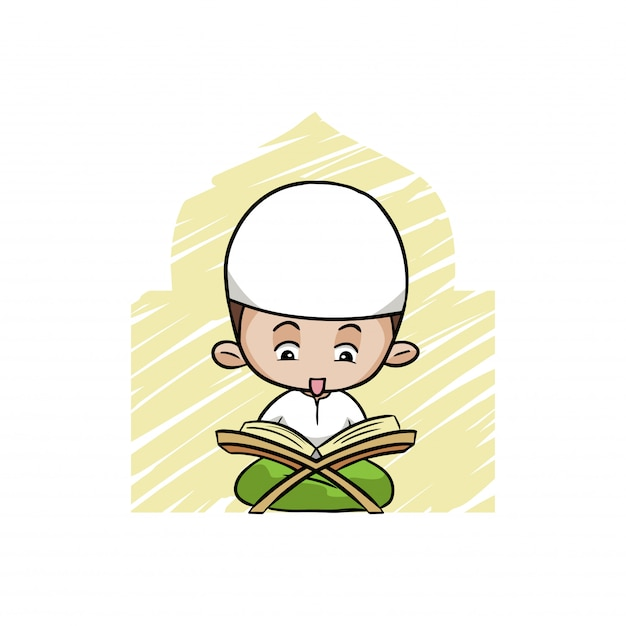 Un Mignon Garçon Musulman Lisant Le Coran Vecteur Premium