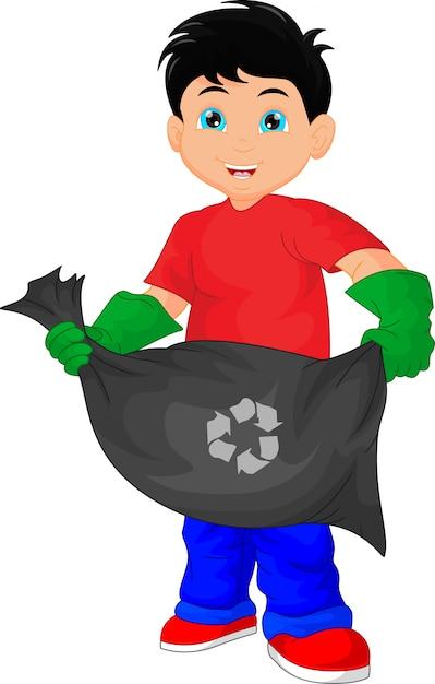 Mignon, garçon, tenue, sac poubelle Vecteur Premium