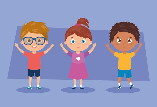 Mignon, Groupe Enfants, Caractères, Vecteur, Illustration, Conception Vecteur Premium
