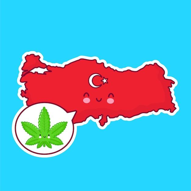Mignon Heureux Drôle De Carte De Turquie Et Caractère De Drapeau Avec De La Marijuana De Mauvaises Herbes Dans La Bulle De Dialogue Vecteur Premium