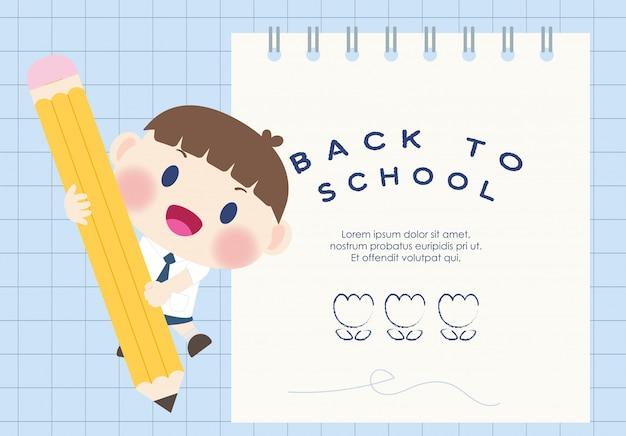 Mignon heureux élève du primaire à l'école Vecteur Premium
