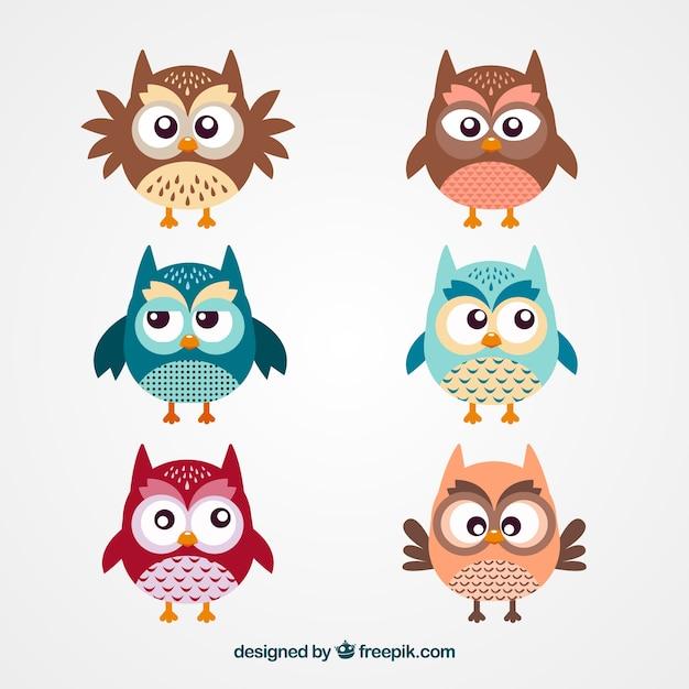 Mignon hibou dessins animés Vecteur gratuit