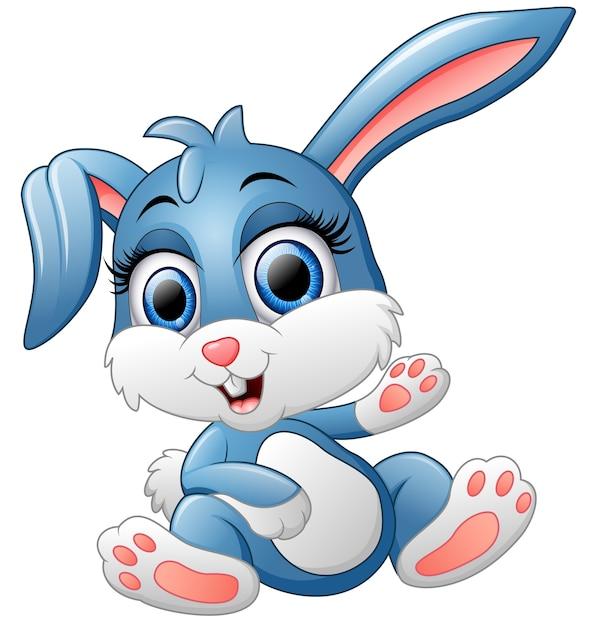 Mignon lapin agitant la main Vecteur Premium
