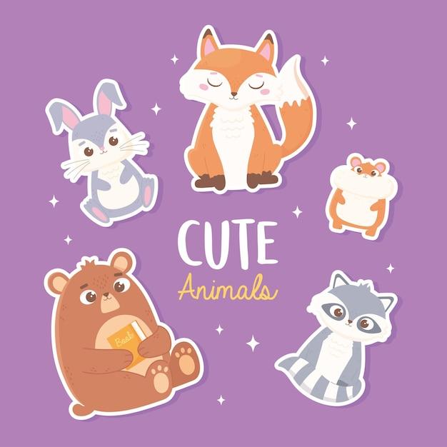 Mignon Lapin Renard Ours Hamster Et Raton Laveur Dessin Animé Animaux Autocollants Illustration Vecteur Premium