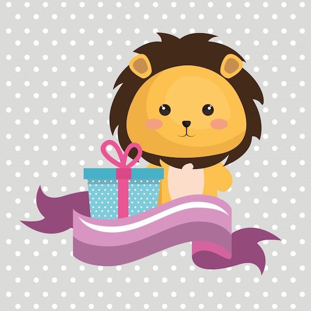 Mignon leon avec carte d'anniversaire cadeau kawaii Vecteur gratuit
