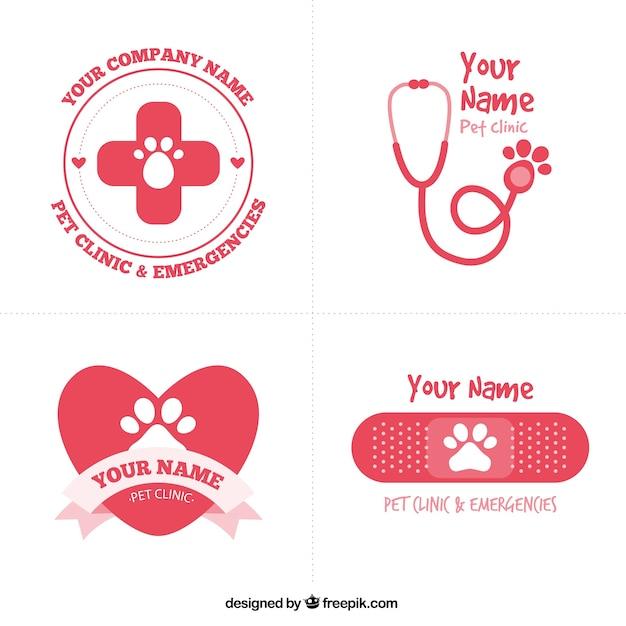 Mignon logos vétérinaires rouges Vecteur gratuit