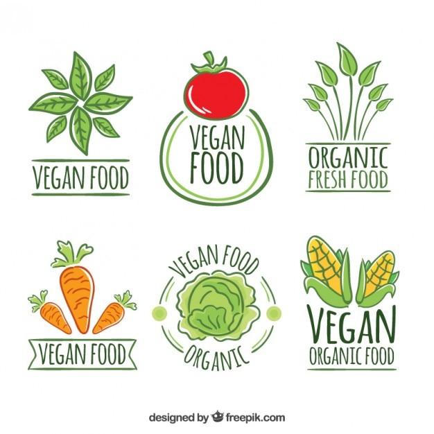Mignon main dessiné restaurant végétalien logos Vecteur gratuit