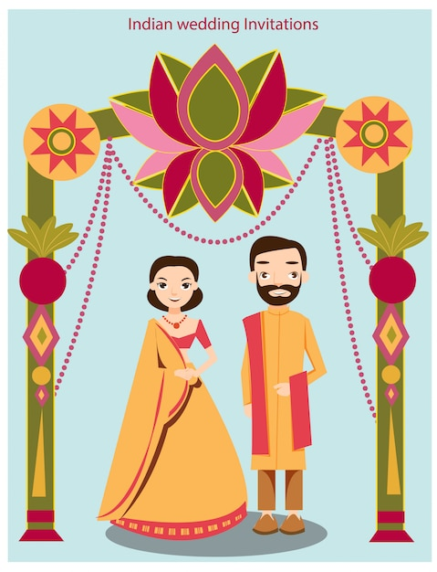 Mignon mariage indien Vecteur Premium