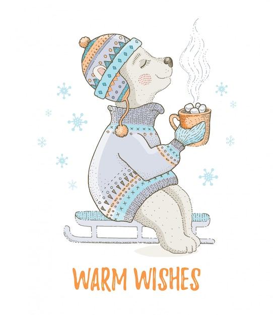 Mignon ours de noël. pour conception de cartes de vœux ou d'impression de t-shirts. Vecteur Premium