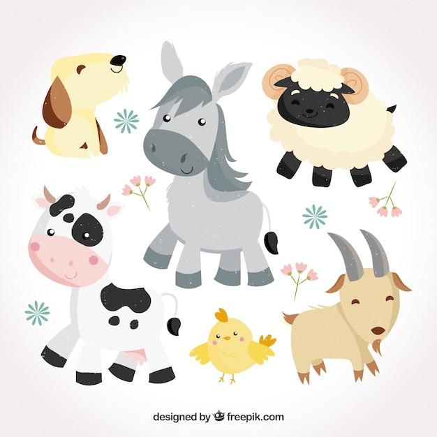 Mignon pack d'animaux de bébé plat Vecteur gratuit