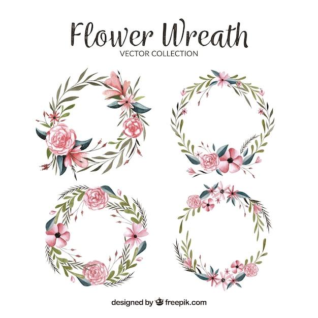 Mignon pack de couronnes florales d'aquarelle Vecteur gratuit
