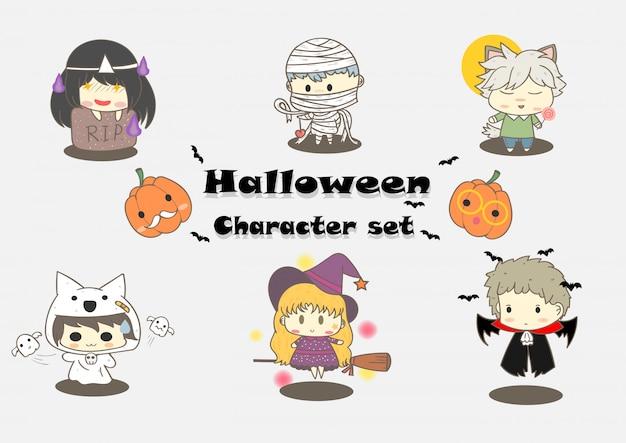 Mignon personnage d'halloween Vecteur Premium