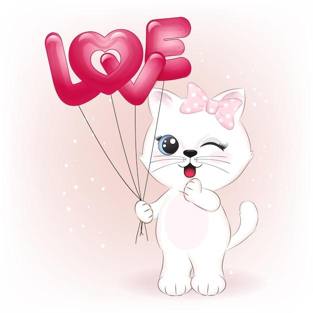 Mignon Petit Chat Tenant Des Ballons D'amour Illustration De Concept De La Saint-valentin Vecteur Premium