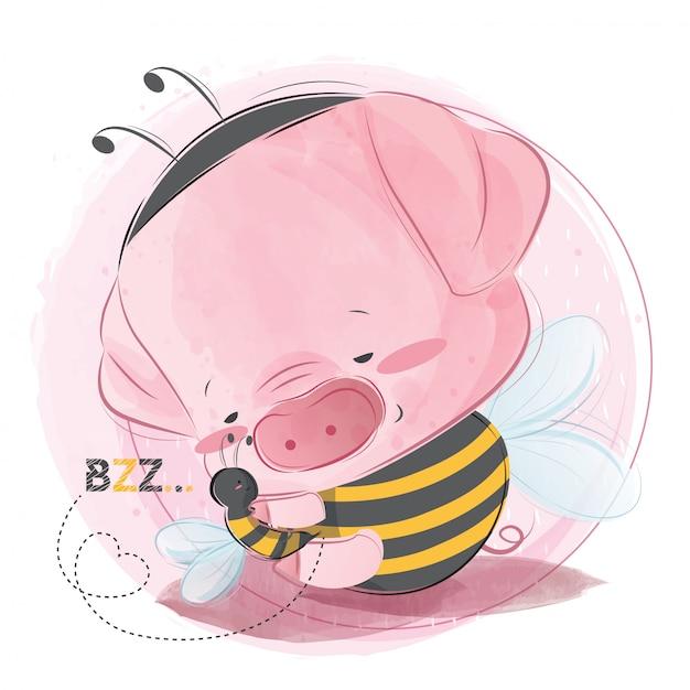 Mignon petit cochon tenant l'ami de l'abeille Vecteur Premium