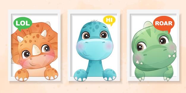 Mignon Petit Dinosaure Avec Illustration D'effet Aquarelle Vecteur Premium