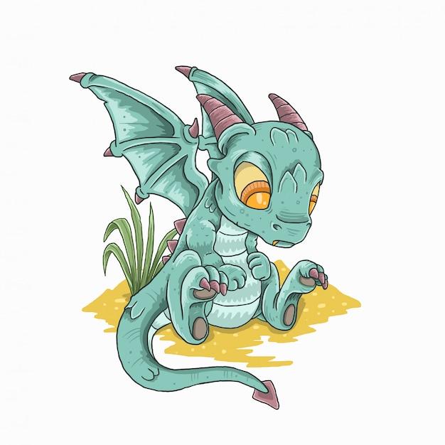 Mignon Petit Dragon Love Gold Vecteur Premium