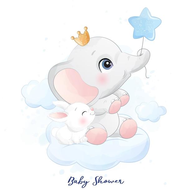 Mignon Petit éléphant Assis Dans Le Nuage Avec Illustration De Lapin Vecteur Premium