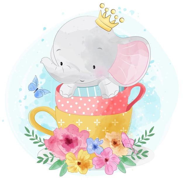 Mignon petit éléphant assis à l'intérieur d'une tasse de thé Vecteur Premium