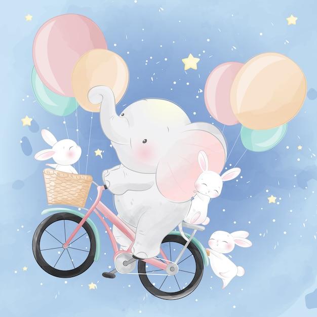 Mignon petit éléphant faire du vélo avec un lapin Vecteur Premium