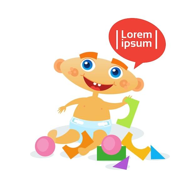 Mignon Petit Garçon Jouant Avec Des Jouets Vecteur Premium