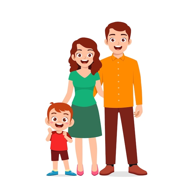 Mignon Petit Garçon Avec Maman Et Papa Ensemble Vecteur Premium