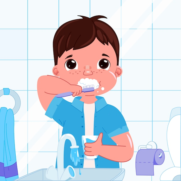 Mignon petit garçon se brosser les dents le matin. routine quotidienne. hygiène dentaire. Vecteur gratuit