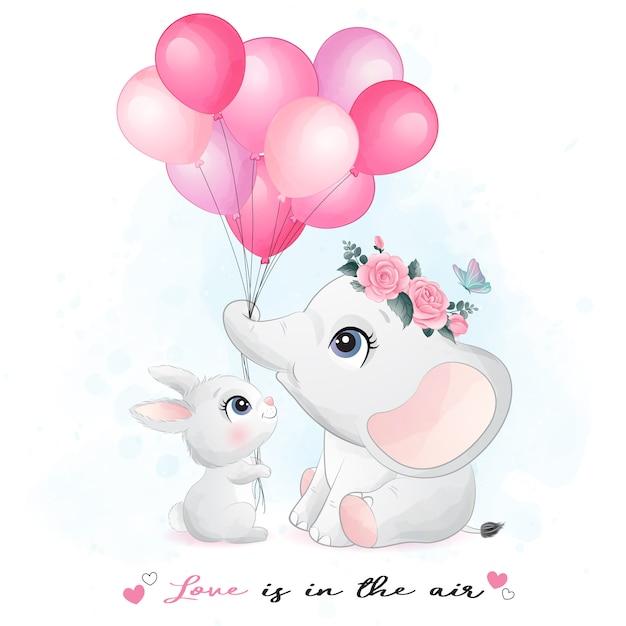 Mignon Petit Lapin Et éléphant Avec Illustration Aquarelle Vecteur Premium