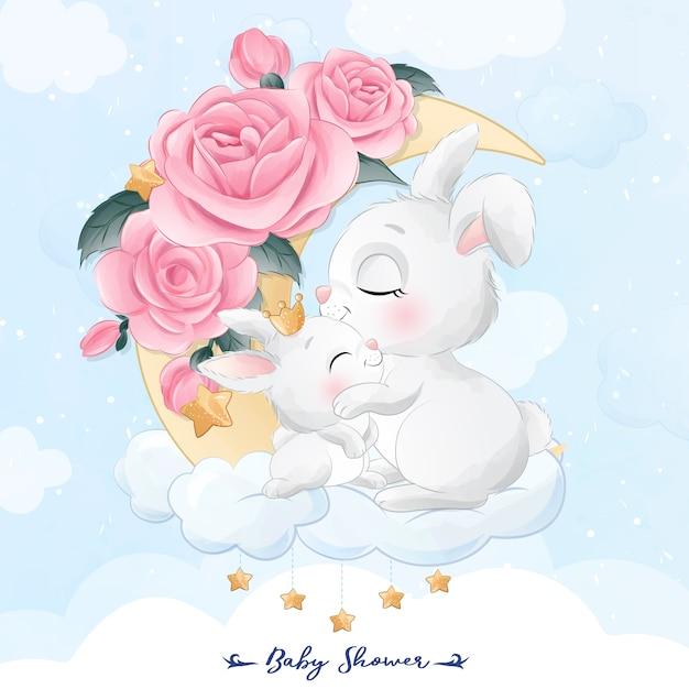 Mignon Petit Lapin Mère Et Bébé Assis Dans L'illustration De La Lune Vecteur Premium