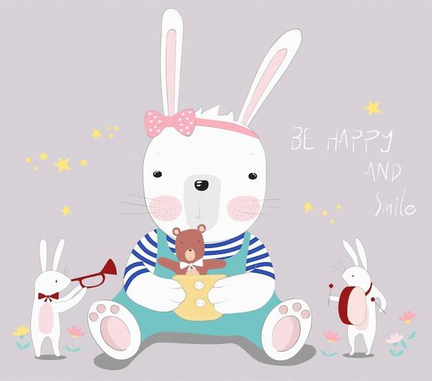 Le mignon petit lapin avec petit ours Vecteur Premium