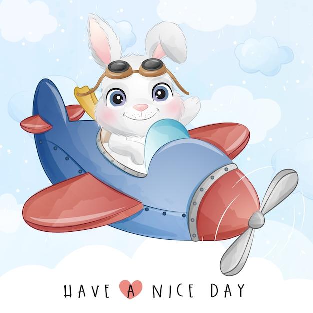 Mignon Petit Lapin Volant Avec Illustration D'avion Vecteur Premium