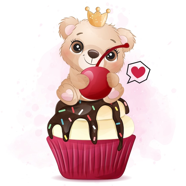 Mignon Petit Ours Assis Dans L'illustration De Cupcake Vecteur Premium