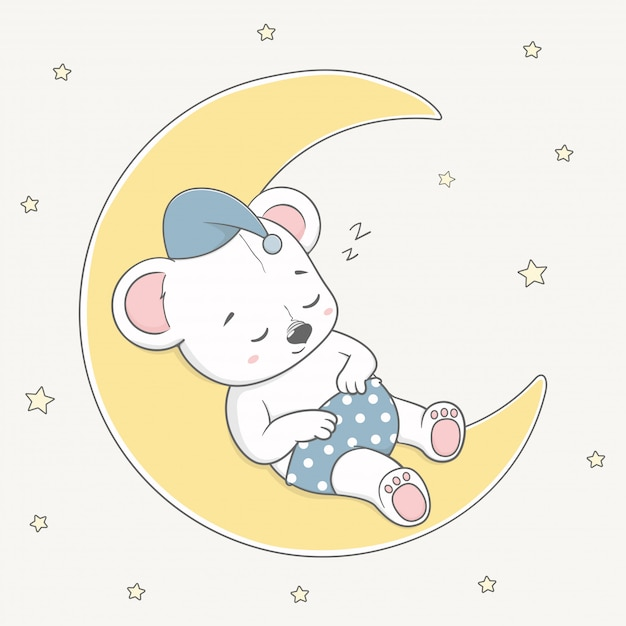 Mignon petit ours dormir sur la lune dessiné à la main Vecteur Premium