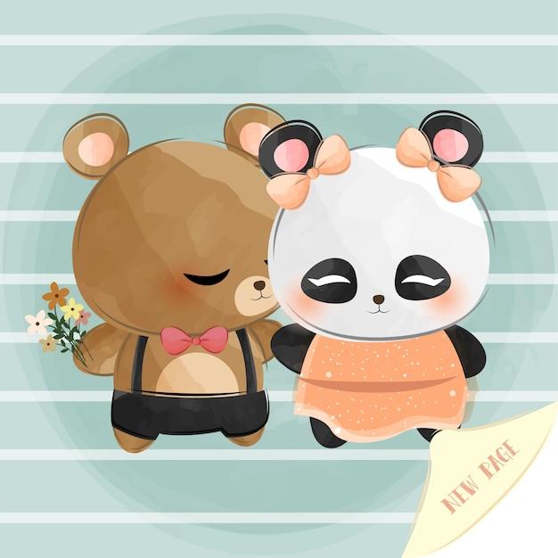 Mignon Petit Ours Et Panda Avec Une Nouvelle Page Vecteur Premium