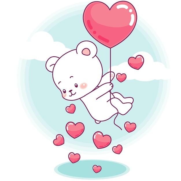 Mignon petit ours vole avec un ballon coeur Vecteur Premium