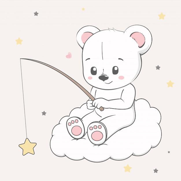 Mignon petit ourson assis sur le nuage et attrapant des étoiles Vecteur Premium