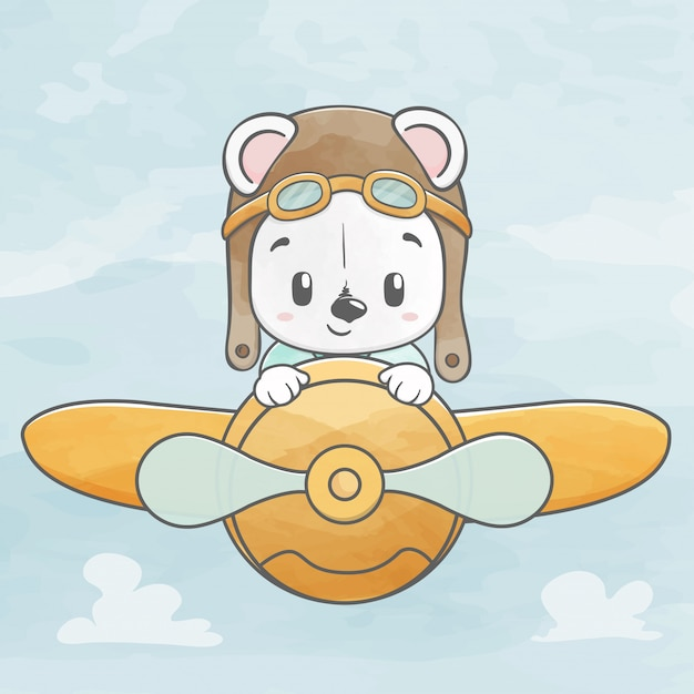 Mignon petit ourson mouche avec plan dessiné à la main couleur eau dessin animé Vecteur Premium