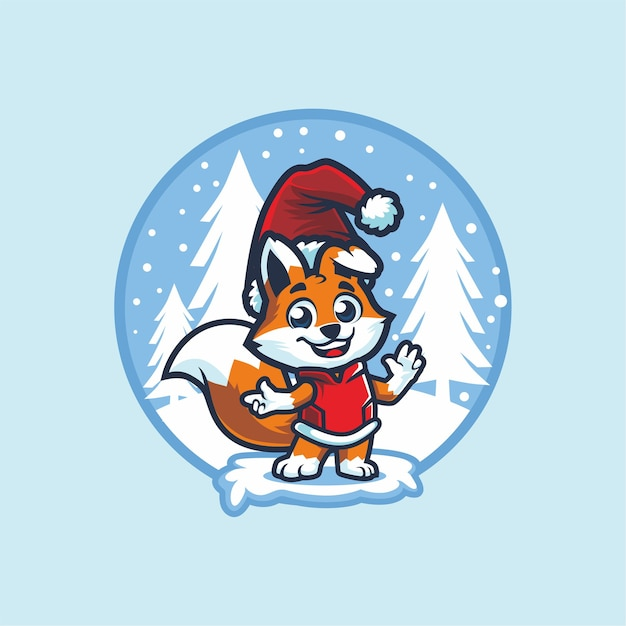 Mignon Petit Renard Avec Bonnet De Noel à Noël Vecteur Premium