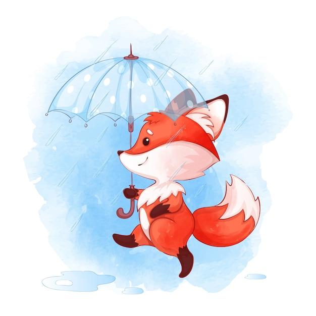 Un mignon petit renard marche sous un parapluie sous la pluie. Vecteur Premium