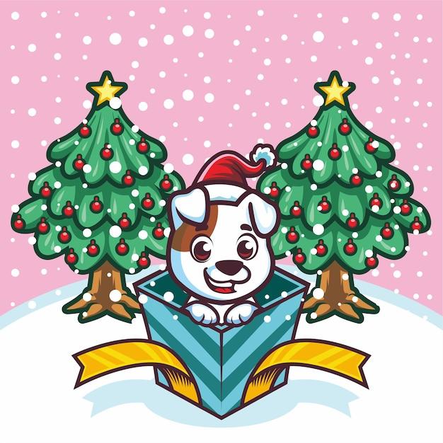 Mignon Petit Tigre En Boîte-cadeau à Noël Vecteur Premium