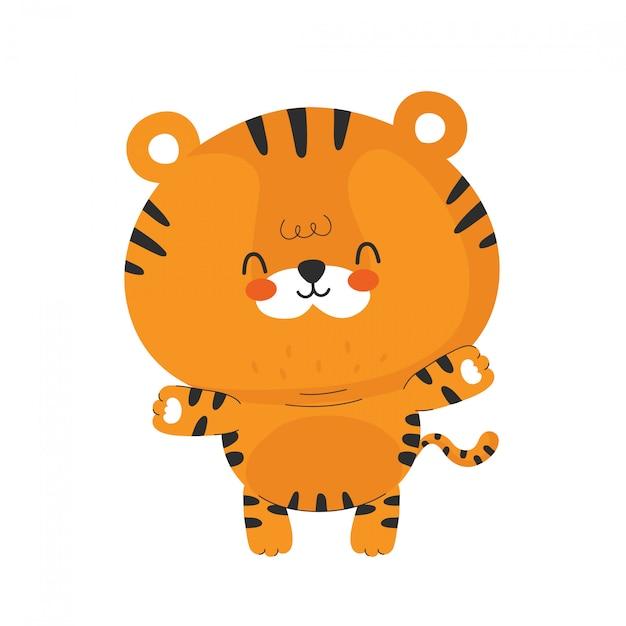 Mignon Petit Tigre Heureux Drôle. Vecteur Premium