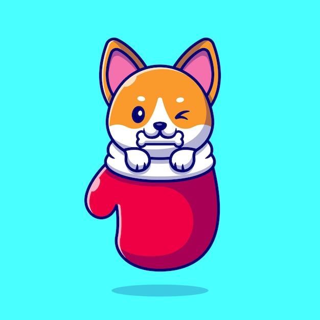 Mignon Shiba Inu Dog Bite Bone In Glove Cartoon Illustration. Concept De Nature Animale Isolé. Style De Bande Dessinée Plat Vecteur gratuit