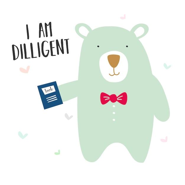 Mignon souriant heureux ours Vecteur Premium