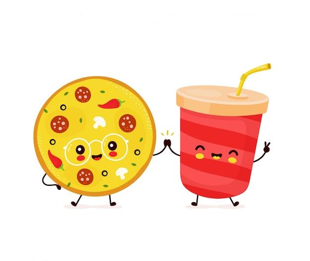 Mignon Sourire Heureux Tasse De Soda Et Pizza. Vecteur Premium