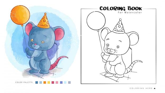 Mignon Souris Tenir Le Ballon D'anniversaire. Illustration De Dessin Animé Pour Livre De Coloriage Aquarelle Vecteur Premium