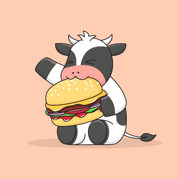 Mignon, Vache, Manger, Hamburger Vecteur Premium