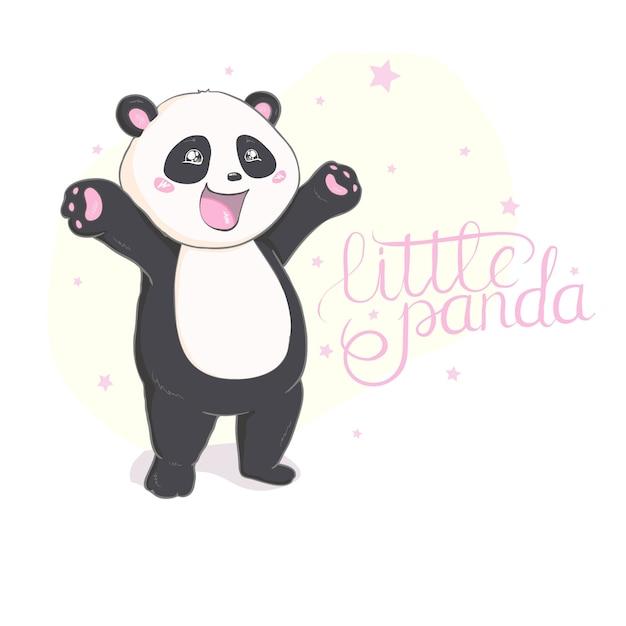 Mignon vecteur de panda Vecteur Premium