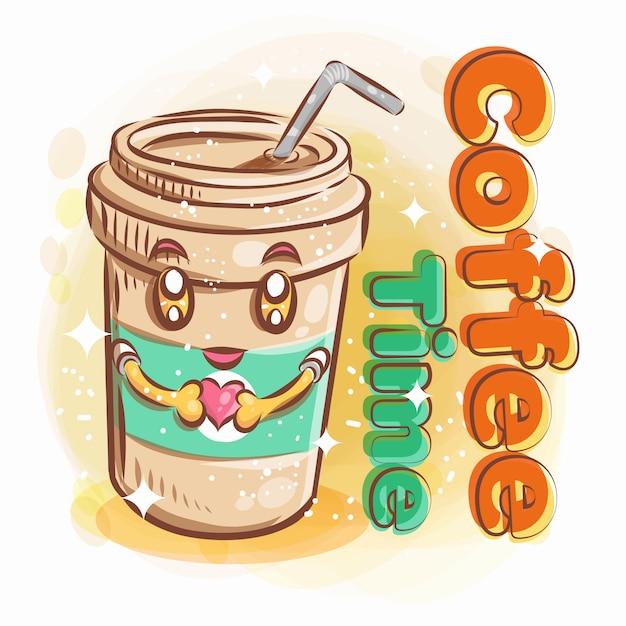 Mignon, Verre Café, Tenir, A, Forme Coeur, à, Sourire Heureux., Coloré, Dessin Animé, Illustration. Vecteur Premium