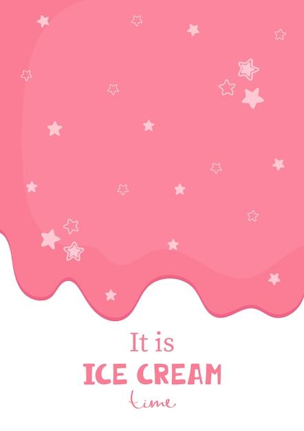 Mignonne affiche avec inscription manuscrite il est temps de passer à la crème glacée. Vecteur Premium