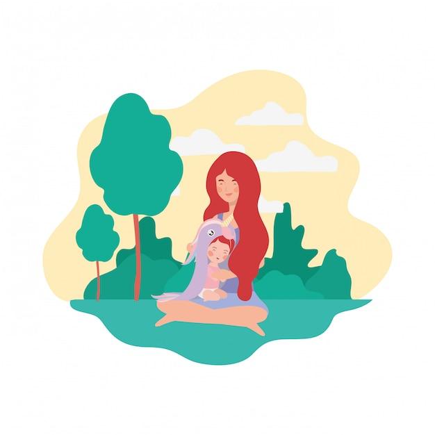 Mignonne mère enceinte assise avec une petite fille dans le camp Vecteur Premium